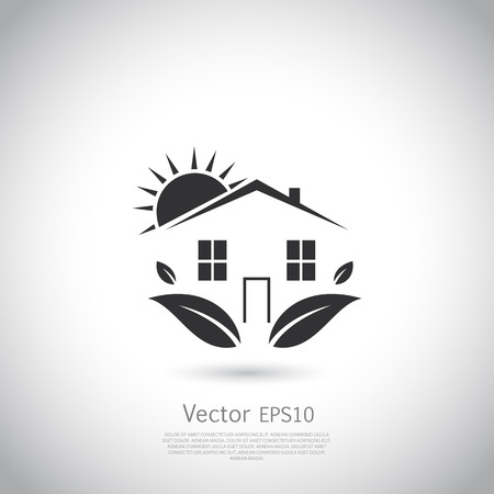Green house. Happy family icon, eco lover. Vector silhouetteon gray background with place for your text. Illustration