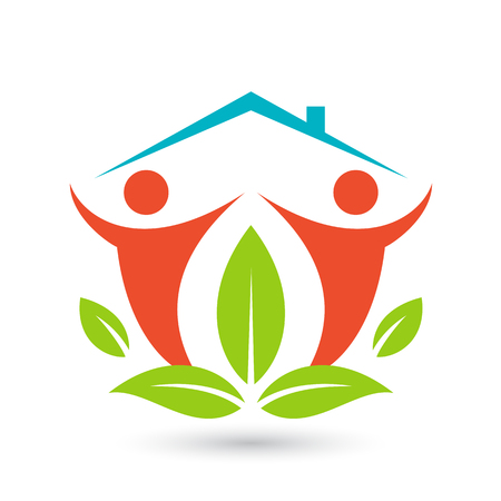 family house: Green house. Happy family icon, eco lover. Vector illustration isolated on white background. Illustration