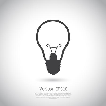 cerebro blanco y negro: icono de señal de luz de la lámpara. símbolo de la idea. Ilustración del vector en fondo gris con el lugar para su texto.