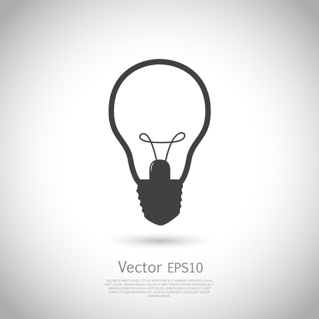 Light lamp sign icon. Idea symbol. Vector illustration on gray background with place for your text.
