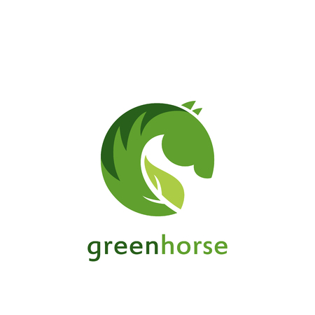 ardor: Vector sign  green horse. Illustration isolated on white background.