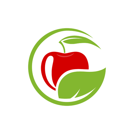 fruit and vegetable: Vector sign with red fruit. Cosmetics, Ecology activity, food company. Illustration isolated on white background.