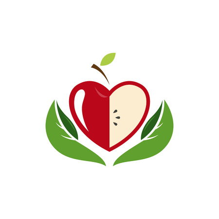 Vector sign with red fruit.  Ecology activity, food company. Illustration isolated on white background.