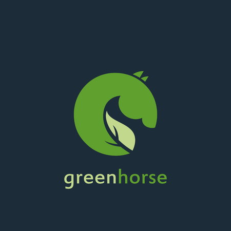 ardor: Vector sign  green horse. Illustration with text on dark background.