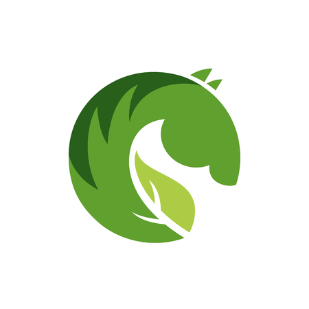 Vector sign  green horse. Illustration isolated on white background.