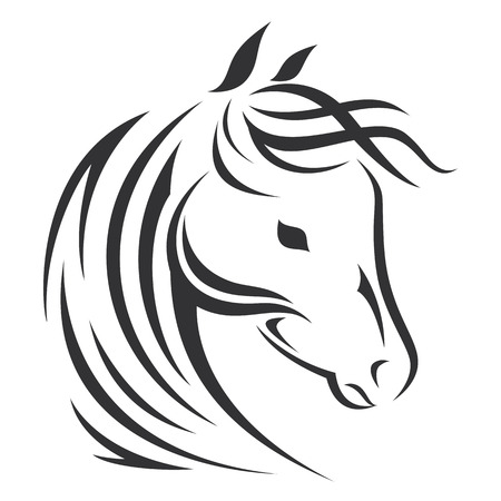 Horse head silhouette. Vector icon design. Ilustracja