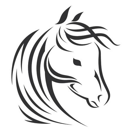 Horse head silhouette. Vector icon design. Vettoriali