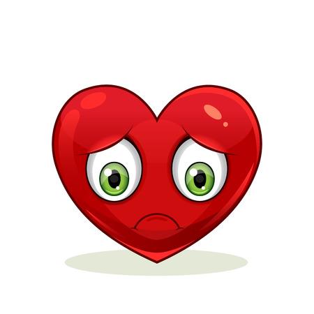 Emoticon with big sad heart. Icon isolated on white background.