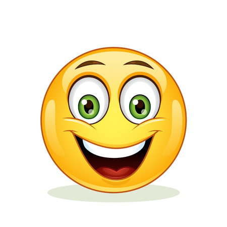 cheesy: Emoticon with happy face. Icon isolated on white background.