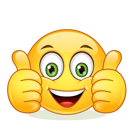 Emoticon showing thumb up. Vector illustration isolated on white background.