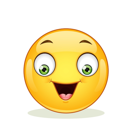 Emoticon with happy face. Icon isolated on white background.