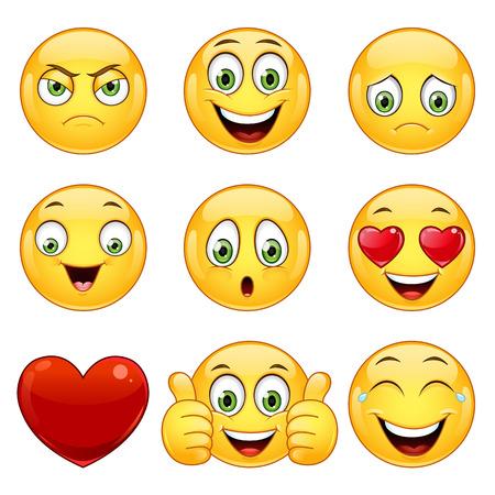 Wektor zestaw ikon uśmiechając kulowe z różnym wyrazem twarzy.