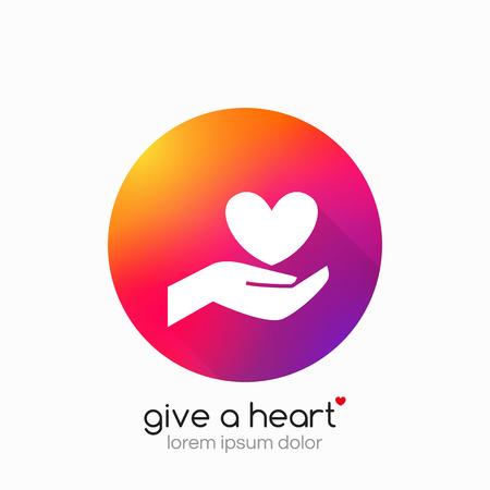 Manos que sostienen el símbolo del corazón, muestra, icono, la plantilla de la caridad, la salud, voluntaria sin fines de lucro, organización del vector