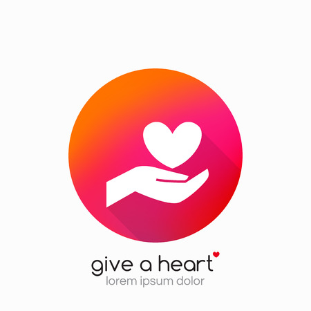 non profit: Hands holding heart symbol, sign, icon,  template for charity, health, voluntary, non profit organization Vector