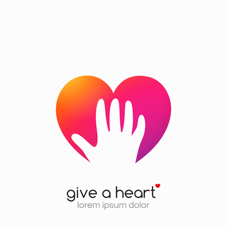 Hands holding heart symbol, sign, icon, template for charity, health, voluntary, non profit organization Vector
