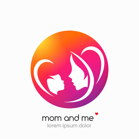 baby mother: Logo mother and her baby. Healthcare or baby shop logo. Template for your design. Mom and me center. Modern abstract background.
