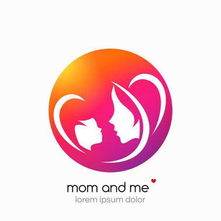 segurar: mãe Logo e seu bebê. Saúde ou logotipo loja de bebê. Modelo para o seu design. Mãe e me centro. Fundo abstrato moderno.