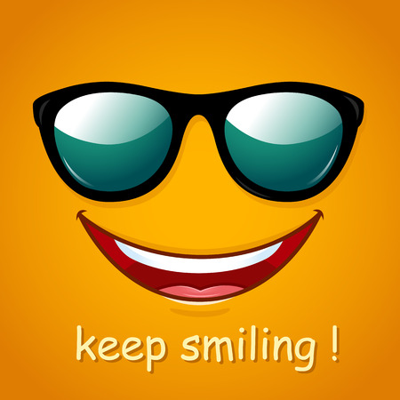 smile close up: Smiley face. Yellow smile poster. World smile day. Vector illustration. Funny summer background.