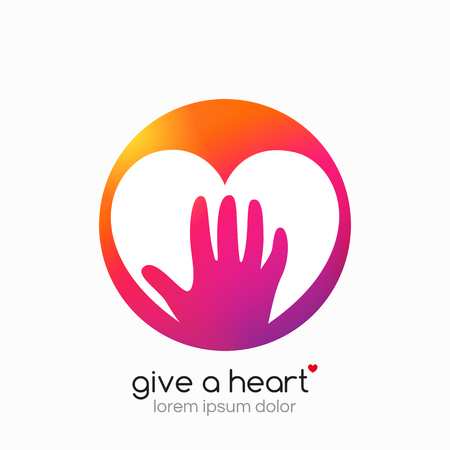 voluntary: Hands holding heart symbol, sign, icon,  template for charity, health, voluntary, non profit organization Vector