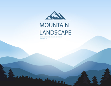 overlooking: Vector background with mountains, symbol and place for your text. Illustration
