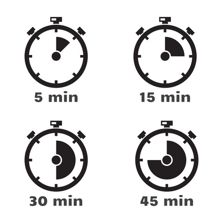 min: Timer set - 5, 15, 30 and 45 min. Vector illustration isolated on white background