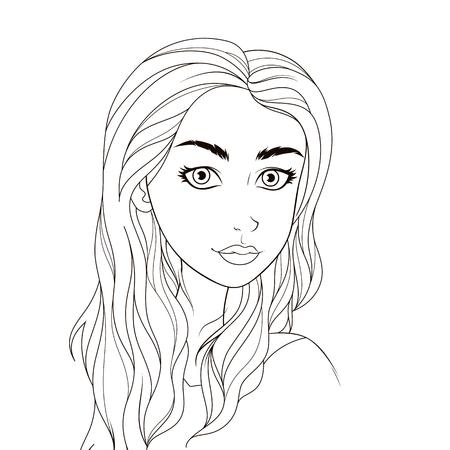 Patrón de libro para colorear. Hermosa chica. Dibujo para colorear para los principiantes.