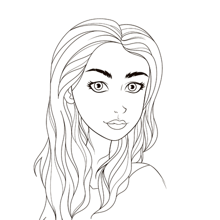 woman face close up: Pattern for coloring book. Beautiful girl. Coloring page for beginners.