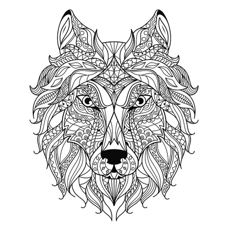 predators: Stylized wolf head isolated on white background. Image for coloring book, tattoo template. Vector.