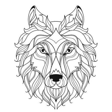 Stylized wolf head isolated on white background. Image for coloring book, tattoo template. Vector.
