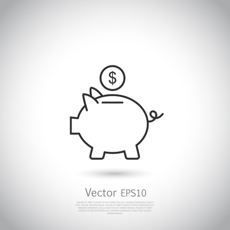 Piggy bank and dollar coin icon thin line for web and mobile, modern minimalistic flat design. Vector dark grey icon on light grey background. Imagens - 62998942