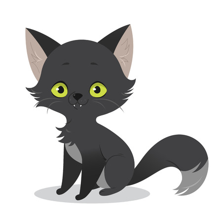 hallowen: An illustration of a cute happy cartoon black cat character. Vector illustration isolated on white background