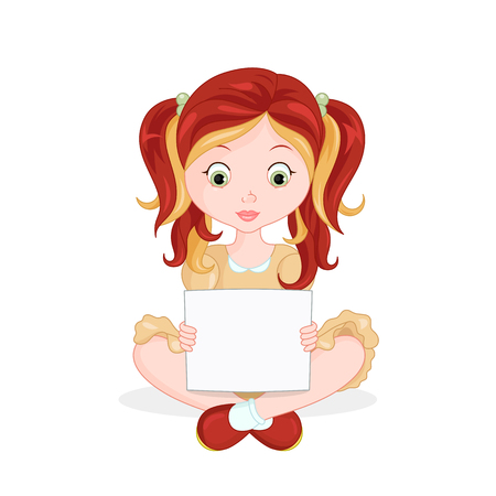 blonde teenager: Illustration of a girl holding an empty board on a white background. Vector. Illustration