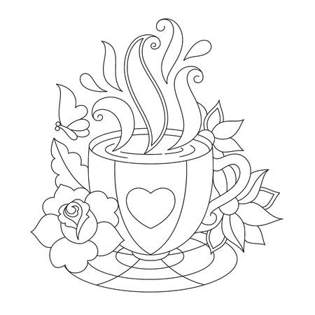 Café ou tasse à thé. Coloriage des pages. Illustration stylisée pour la coloration isolée sur fond blanc. Banque d'images - 66544053