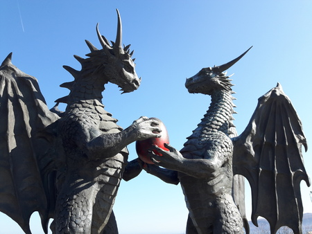 garden statuary: Statue - dragons with egg in Sea Garden of Varna. Stock Photo