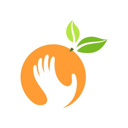 leaf logo: Orange and hand vector logo, label, emblem design.