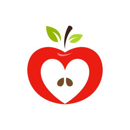 leaf logo: Heart shaped apple vector logo, label, emblem design.