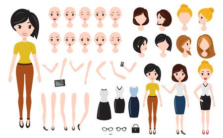 Jeu de création de personnage de femme. Femme d'affaires sûre d'elle-même, assistant attrayant, vendeur efficace, girlboss.