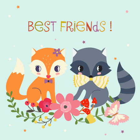Best friends illustration. Whimsical background or card.