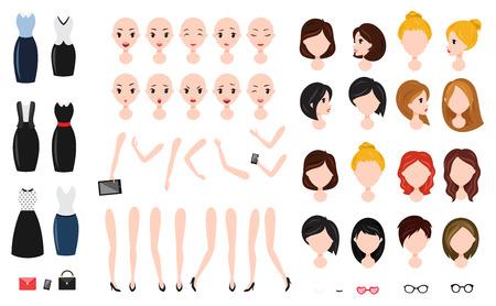 Frauencharakter-Kreationssatz. Selbstbewusste Geschäftsfrau, attraktiver Assistent, effektiver Verkäufer, Girlboss. Standard-Bild - 84657255