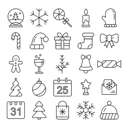 New Year icons. Christmas party elements. New Year Outline pictograms for web site design and mobile apps. Winter holidays vector illustration. Stock Vector - 92153676