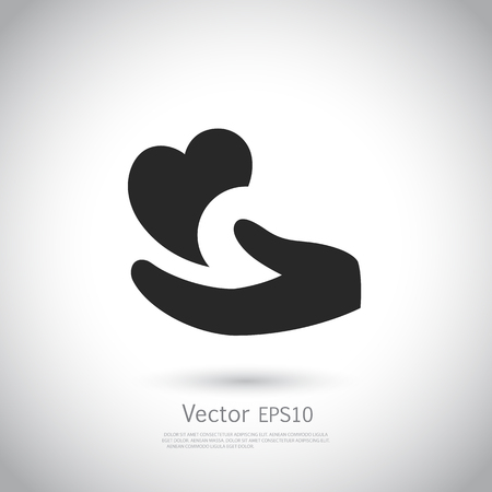 Heart in hand symbol, sign, icon, template for charity, health, voluntary, non profit organization, vector illustration.
