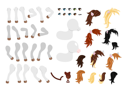 Create your own cute little pony. Different types of mane, tails, eyes and other elements. Vector illustration isolated on white background.  イラスト・ベクター素材