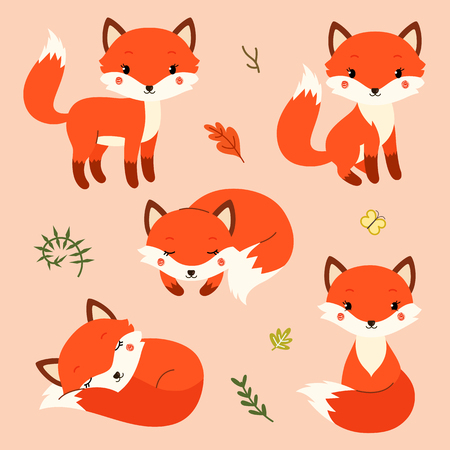 Set of cute cartoon foxes in modern simple flat style. Illustration