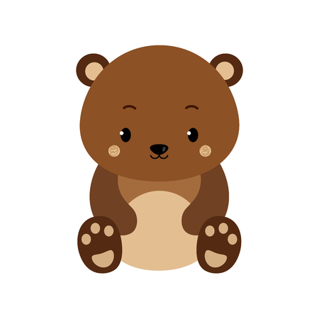 Cute cartoon bear backgrounds. Flat design. Vector Illustration isolated on white background. Ilustração