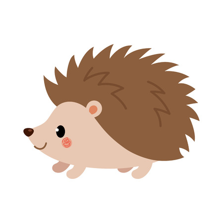 Adorable hedgehog in modern flat style. Vector. Vettoriali
