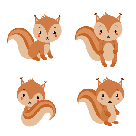 Adorable squirrels collection in modern flat style. Vector illustration.