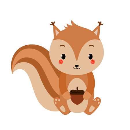 Adorable squirrel in modern flat style. Vector illustration.
