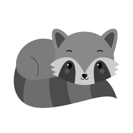 Adorable raccoon in flat style. Vector.