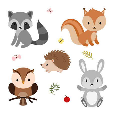 Woodland animals set like raccoon and bunnies. Imagens - 97304175