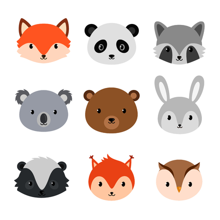 Cute animals collection. Flat style. Vettoriali